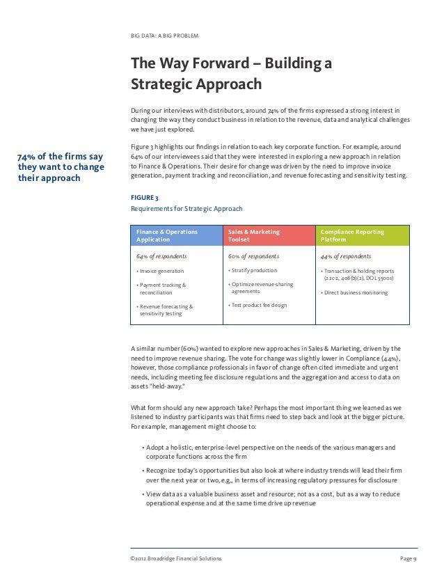 ©2012 Broadridge Financial Solutions Page 9 BIG DATA: A BIG PROBLEM The Way Forward – Building a Strategic Approach Duri...