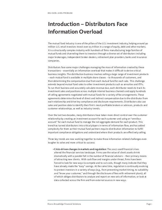 ©2012 Broadridge Financial Solutions Page 1 BIG DATA: A BIG PROBLEM Introduction – Distributors Face Information Overloa...