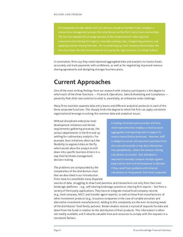 Page 6 ©2012 Broadridge Financial Solutions BIG DATA: A BIG PROBLEM In summation, firms say they need improved aggregated...