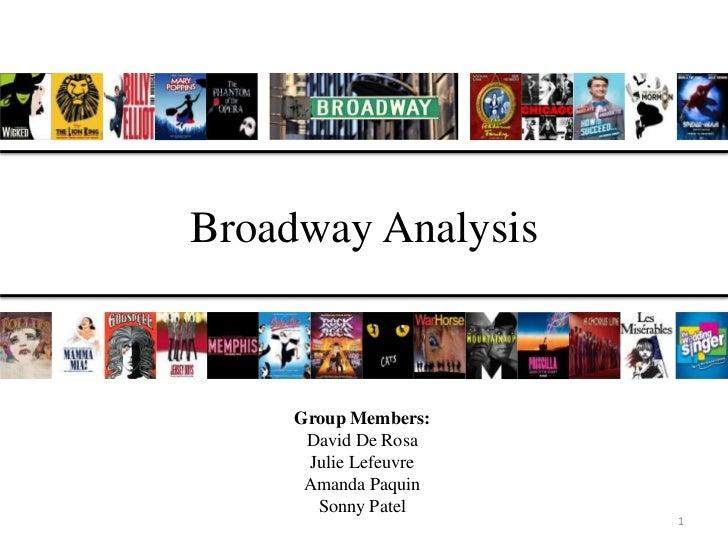 Broadway Analysis     Group Members:      David De Rosa      Julie Lefeuvre      Amanda Paquin       Sonny Patel          ...