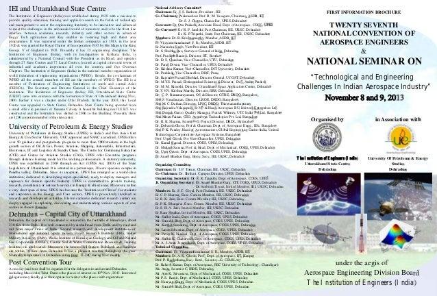 IEI and Uttarakhand State Centre University of Petroleum & Energy Studies University of Petroleum & Energy Studies (UPES) ...