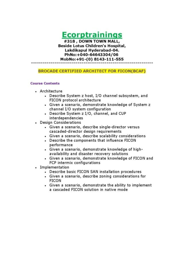 Brocade certified architect for ficon bcaf training in for Certified architect