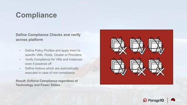 17 Define Compliance Checks and verify across platform - Define Policy Profiles and apply them to specific VMs, Hosts, Clu...