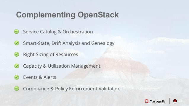 23 Complementing OpenStack Service Catalog & Orchestration Smart-State, Drift Analysis and Genealogy Right-Sizing of Resou...