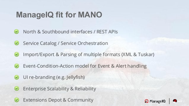 24 ManageIQ fit for MANO North & Southbound interfaces / REST APIs Service Catalog / Service Orchestration Import/Export &...