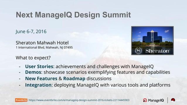 25 Next ManageIQ Design Summit June 6-7, 2016 Sheraton Mahwah Hotel 1 International Blvd, Mahwah, NJ 07495 What to expect?...