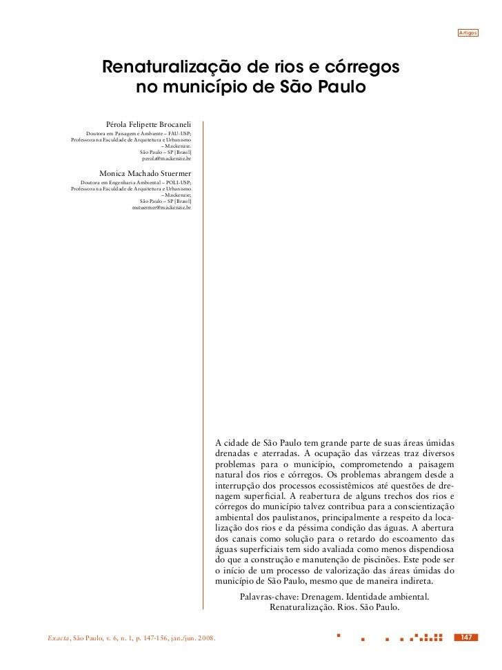 Artigos                    Renaturalização de rios e córregos                       no município de São Paulo             ...