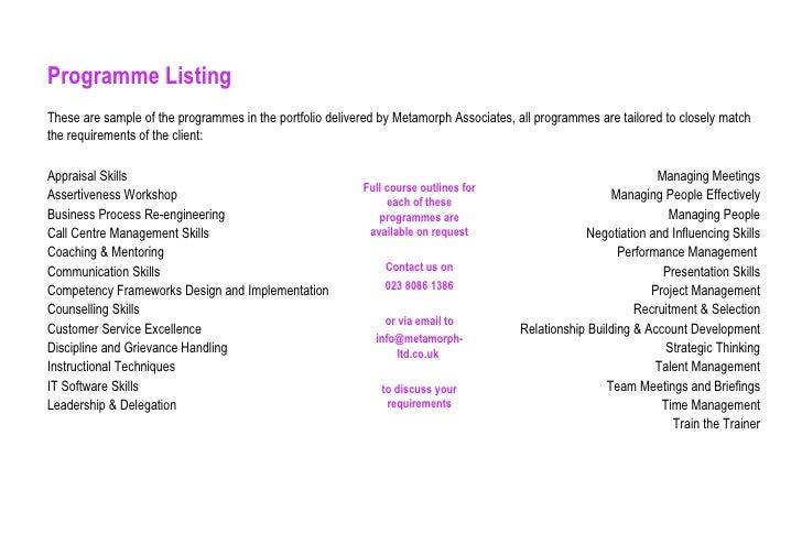 Programme Listing <ul><li>Appraisal Skills </li></ul><ul><li>Assertiveness Workshop </li></ul><ul><li>Business Process Re-...