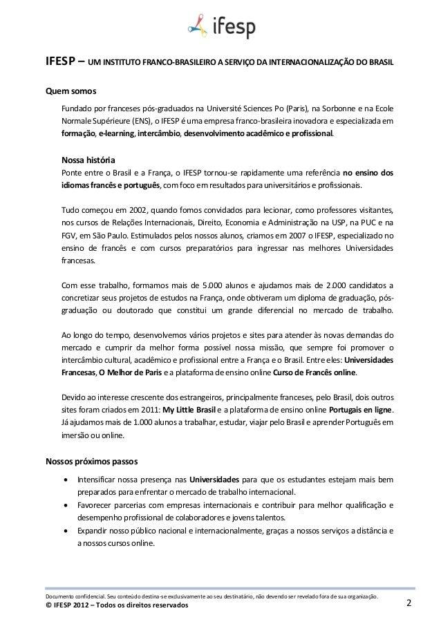 Brochura Ifesp Cursos De Frances E Portugues Online