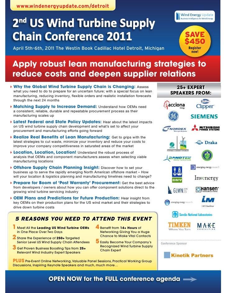 www.windenergyupdate.com/detroit 2nd US Wind Turbine Supply Chain Conference 2011                                         ...