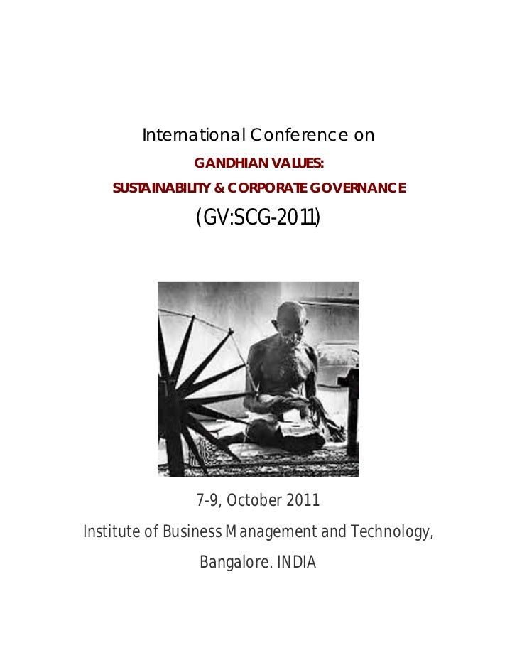 International Conference on               GANDHIAN VALUES:    SUSTAINABILITY & CORPORATE GOVERNANCE               (GV:SCG-...
