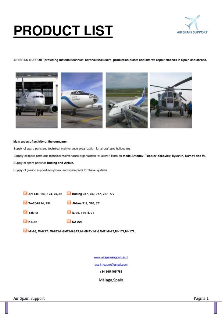 PRODUCT LISTAIR SPAIN SUPPORT providing material technical aeronautical users, production plants and aircraft repair stati...
