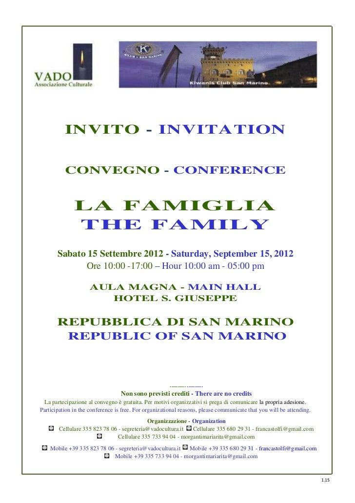 INVITO - INVITATION          CONVEGNO - CONFERENCE              LA FAMIGLIA              THE FAMILY       Sabato 15 Settem...