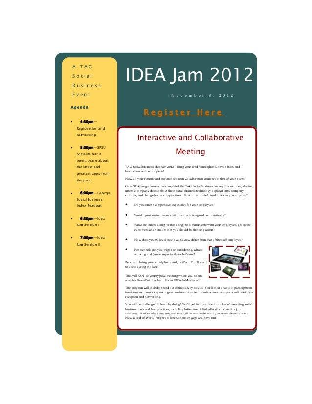 IDEA Jam 2012A TAGSocialBusinessEvent                                                      N o v e m b e r             8 ,...