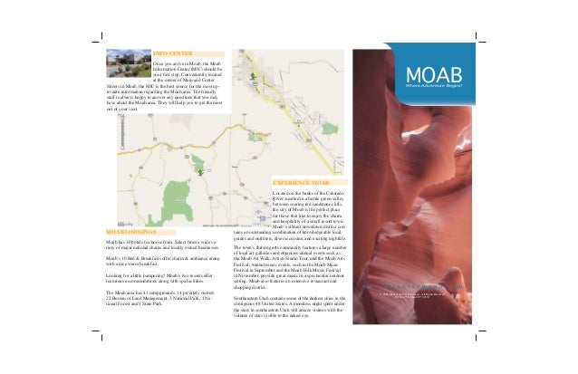 ... Sample Tri Fold Brochure. MOABWhere Adventure Begins! INFO CENTER Once  You Arrive In Moab, The Moab Information Center ...