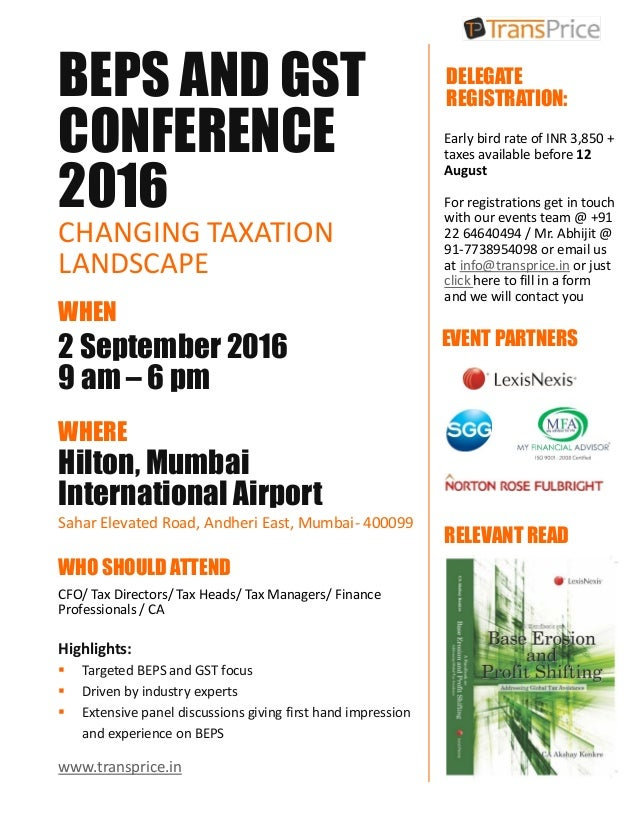Only 3 Days Left - BEPS and GST Conference 2016