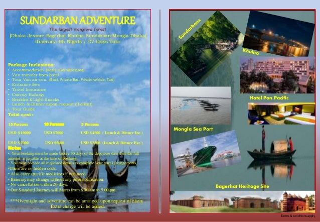 Brochure of Itinerary tour