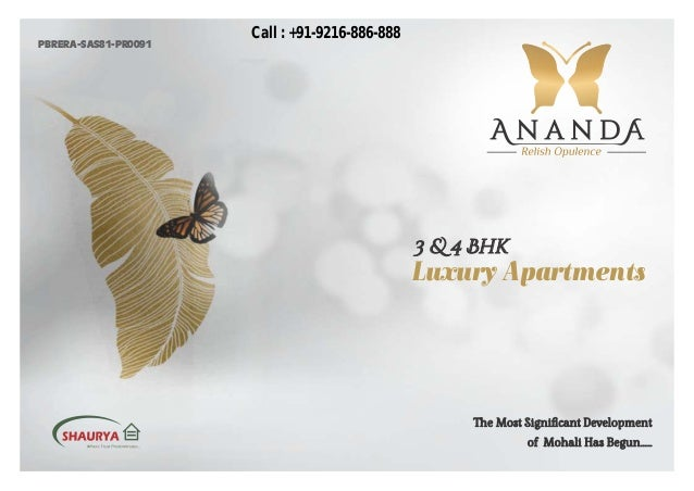 3 & 4 Bhk Luxury Apartments The Most Significant Development of Mohali Has Begun...... PBRERA-SAS81-PR0091 Call : +91-9216-...
