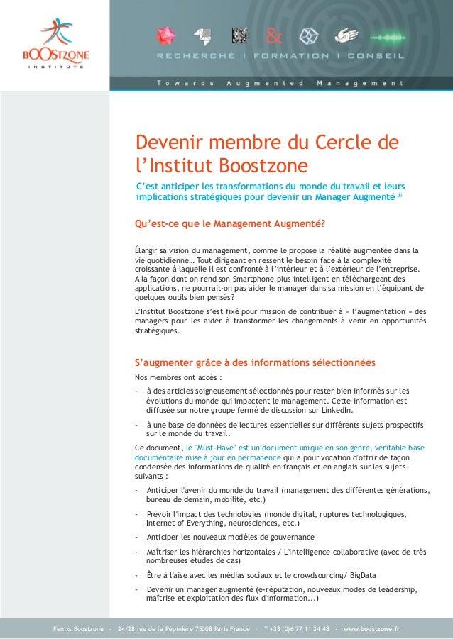 Fenixs Boostzone - 24/28 rue de la Pépinière 75008 Paris France – T +33 (0)6 77 11 34 48 - www.boostzone.frC'est anticiper...
