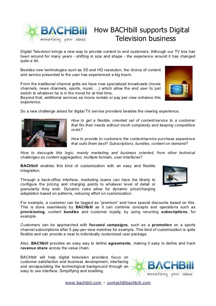 How BACHbill supports Digital                                              Television businessDigital Television brings a ...