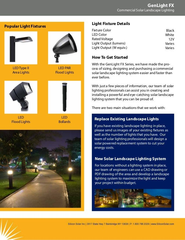 Silicon solar brochure genlight lx commercial solar landscape light 5 genlight fx commercial solar landscape lighting mozeypictures Image collections
