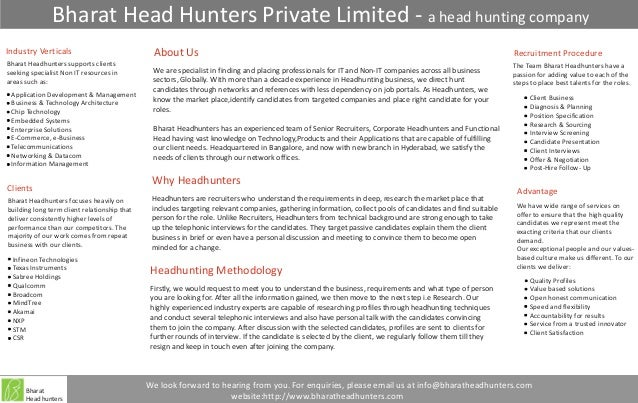 Bharat Head Hunters Private Limited - a head hunting companyIndustry Verticals                              About Us      ...