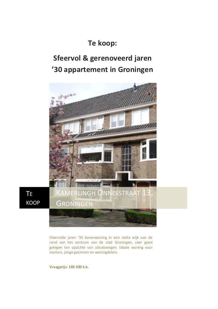 Te koop:         Sfeervol & gerenoveerd jaren        '30 appartement in GroningenTE        KAMERLINGH ONNESSTRAAT 13,KOOP ...