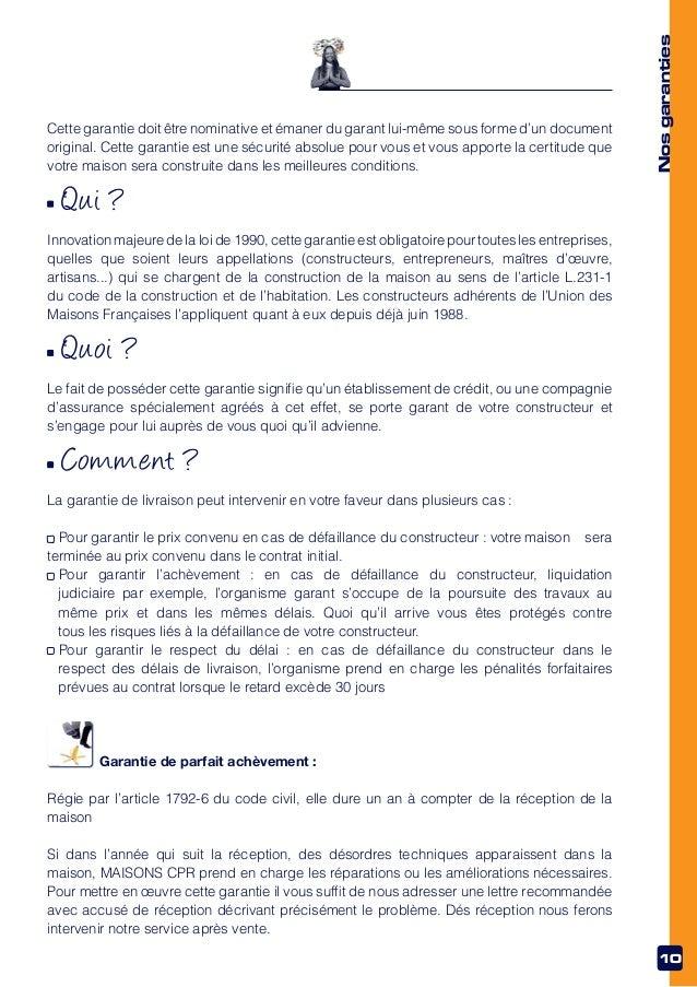 modele lettre garantie decennale constructeur