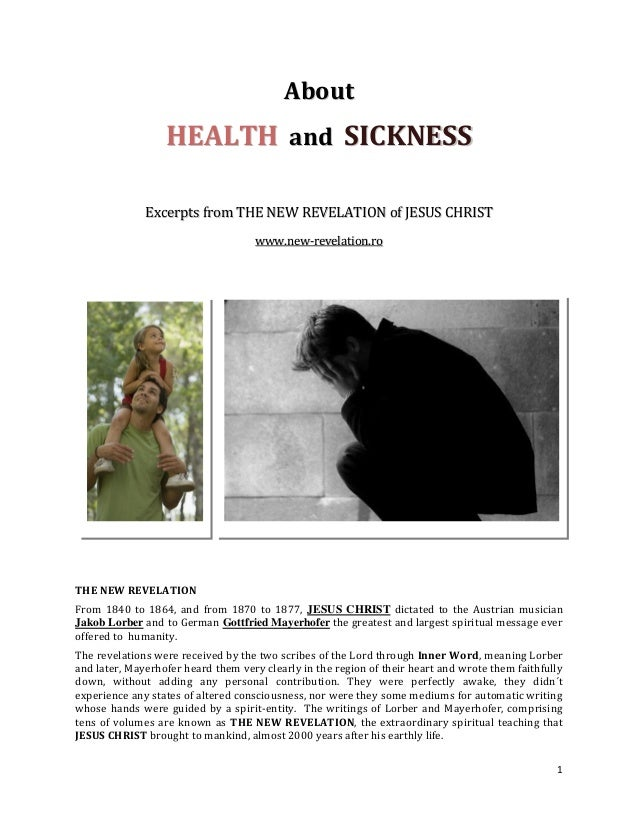 About                  HEALTH and SICKNESS              Excerpts from THE NEW REVELATION of JESUS CHRIST                  ...