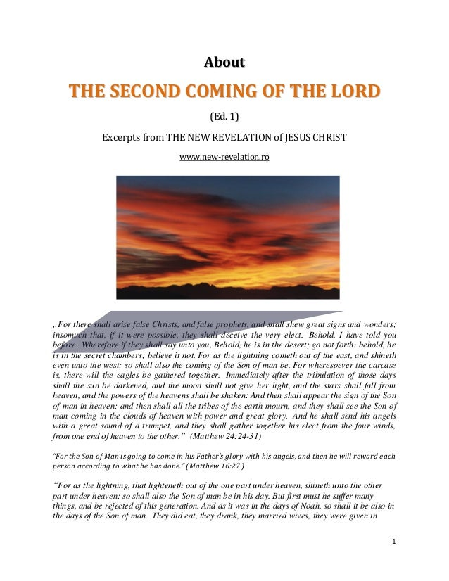 About    THE SECOND COMING OF THE LORD                                               (Ed. 1)              Excerpts from TH...