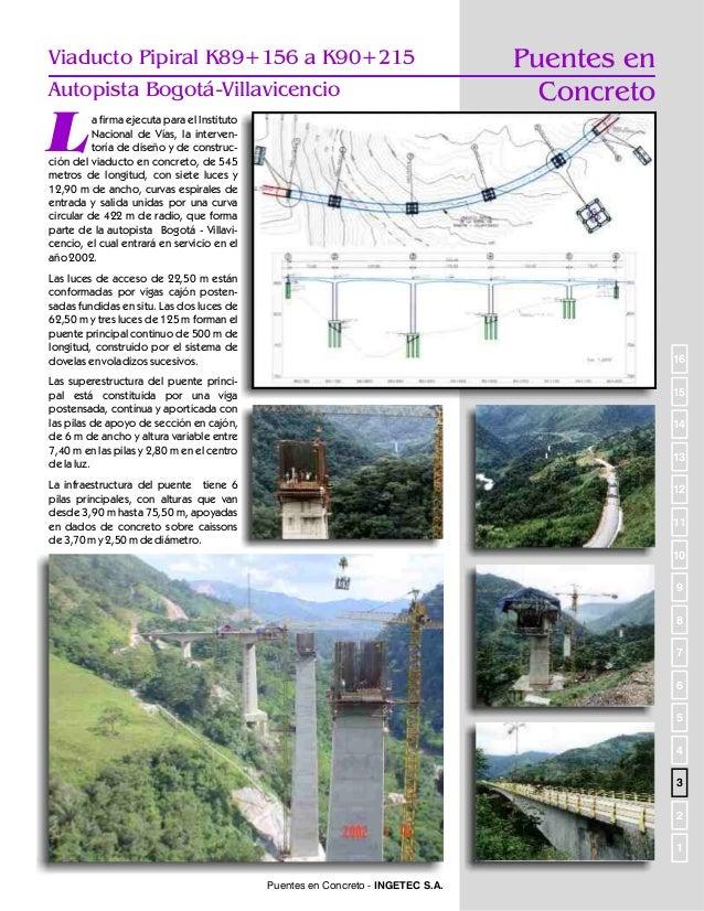 Puentes en concreto  Puente Servitá (Autopista Bogotá-Villavicencio)  P  ara el Instituto Nacional de Vías, INGETEC S.A. e...