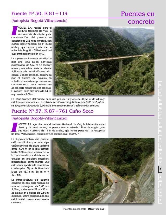 Puentes en Concreto  Puente 35A, K84+981 (Autopista Bogotá-Villavicencio)  I  NGETEC S.A. desarrolló para el Instituto Nac...