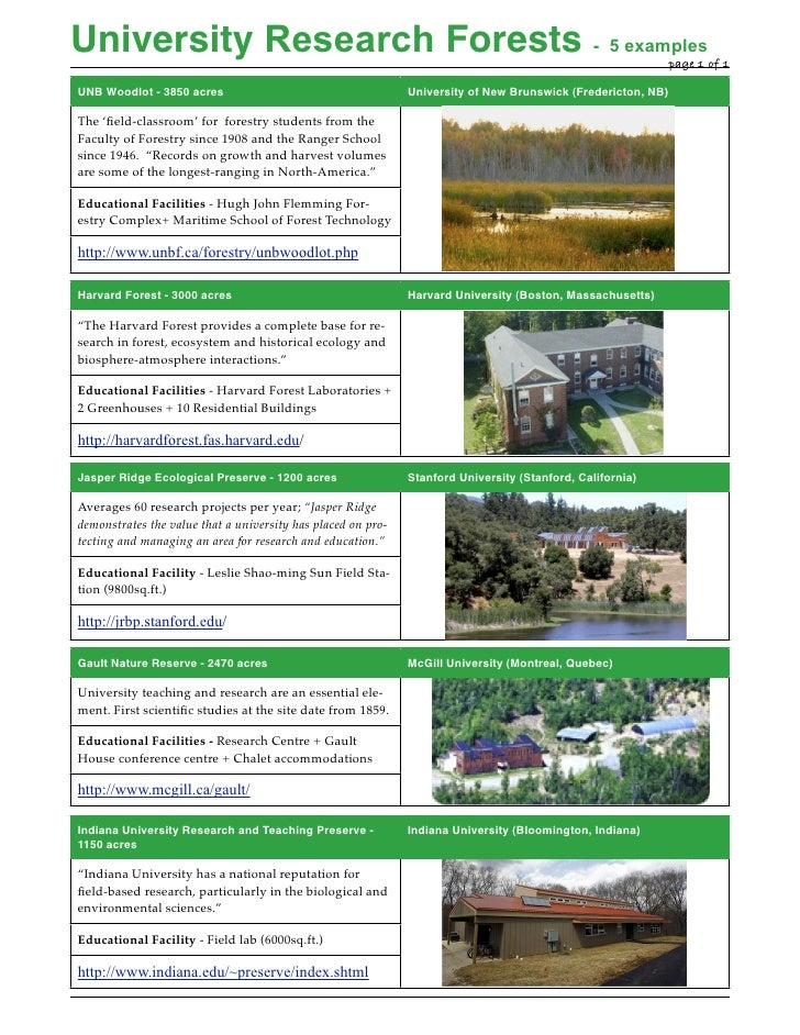 University Research Forests - 5 examples                      !                                                   page 1 o...