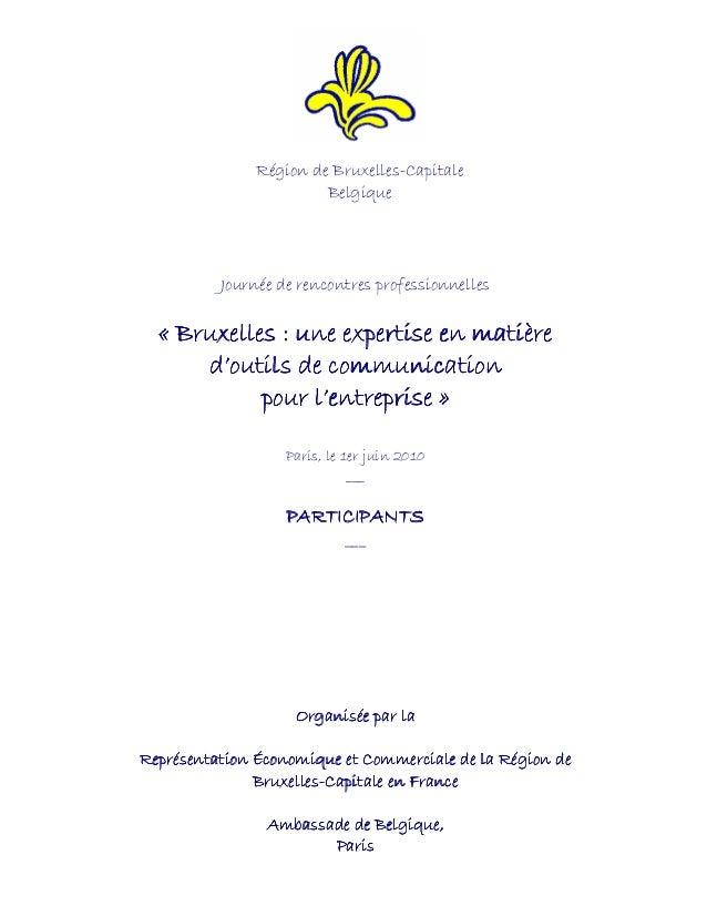 Journée de rencontres professionnelles «««« BruxellesBruxellesBruxellesBruxelles : une expertise e: une expertise e: une e...