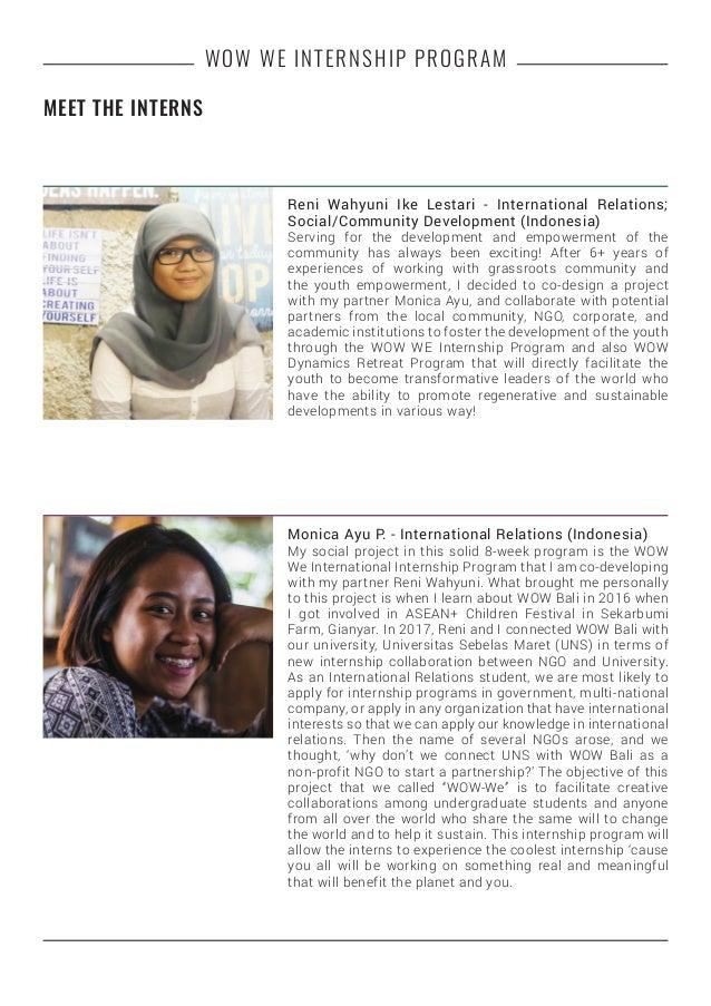 WOW WE INTERNSHIP PROGRAM Reni Wahyuni Ike Lestari - International Relations; Social/Community Development (Indonesia) Ser...