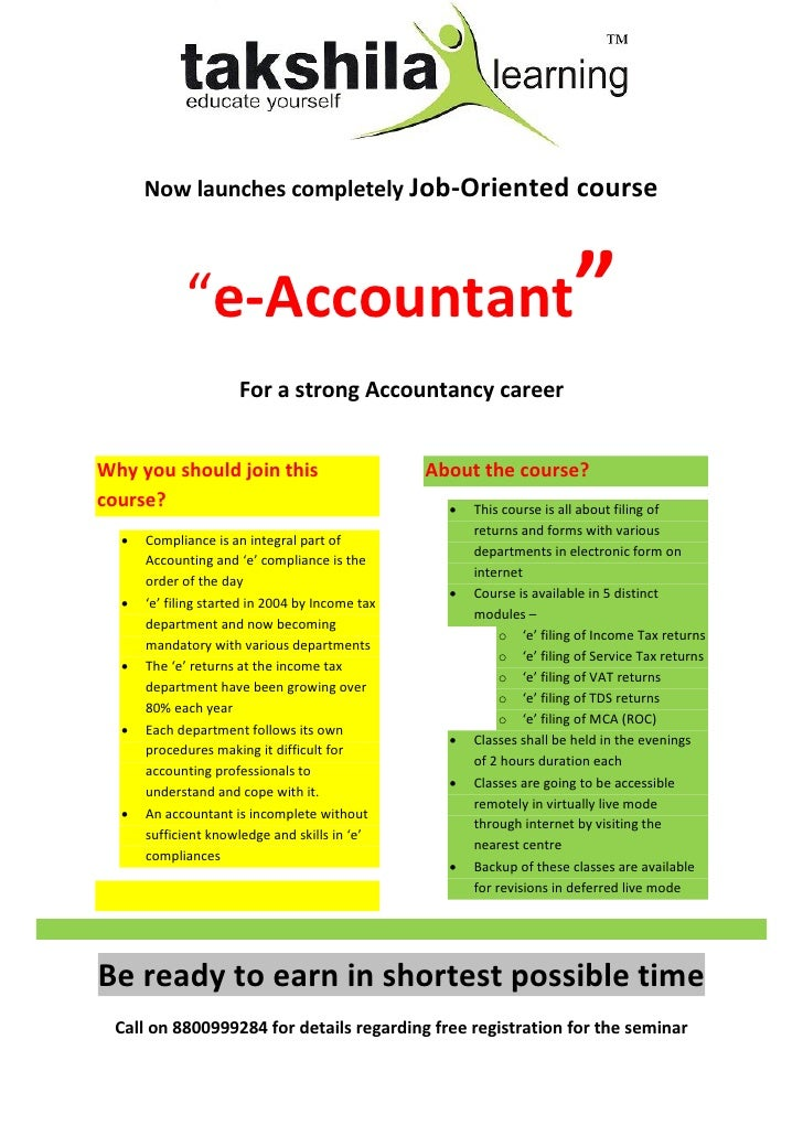 "Now launches completely Job-Oriented course             ""e-Accountant""                      For a strong Accountancy caree..."