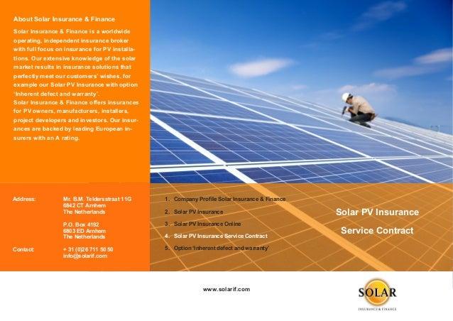 Brochure 4 Solar Pv Insurance Service Contract
