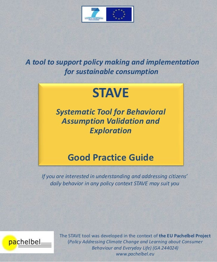 A tool to support policy making and implementation            for sustainable consumption                          STAVE  ...