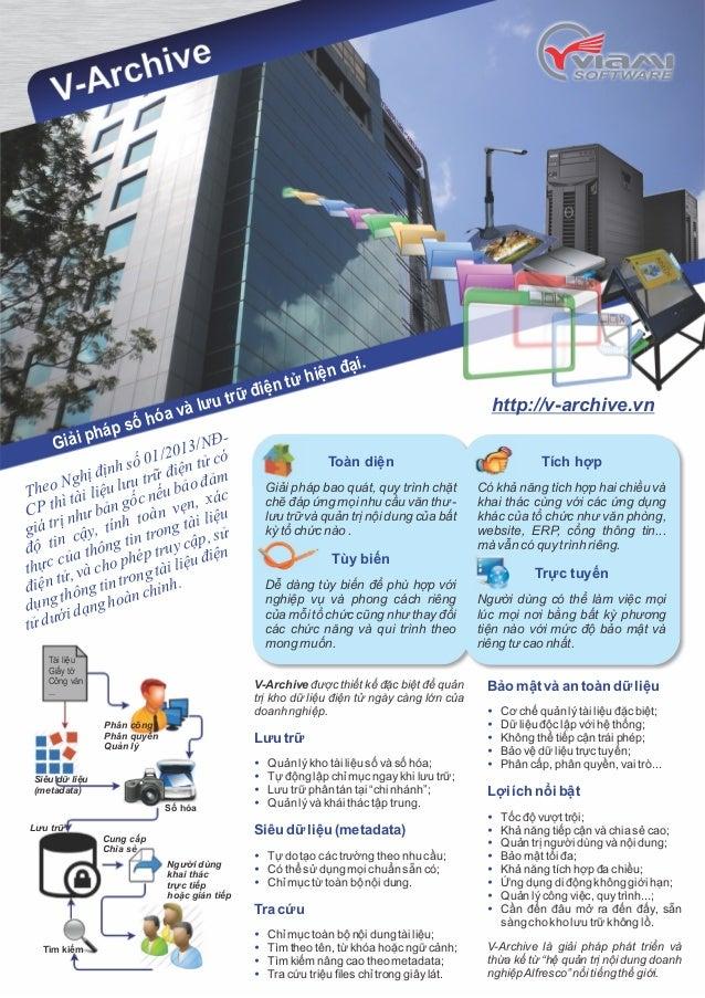 Giải pháp số hóa và lưu trữ điện tử hiện đại.  http://v-archive.vn 2013/NĐ-  định số 01/điện tử có  Theo Nghị liệu lưu trữ...