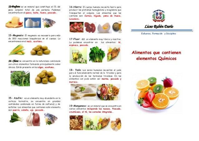 Brochure alimentos que contienen elementos qu micos - En que alimentos se encuentra zinc ...