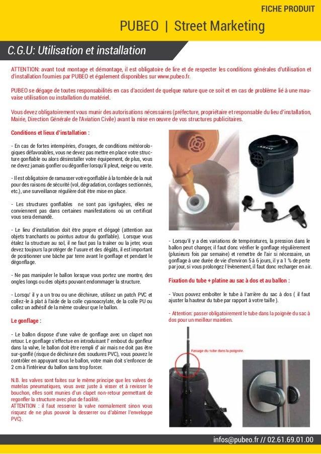 C.G.U: Utilisation et installation PUBEO | Street Marketing - Ballon sac à dos Ø 0.60 m. - Marquages deux faces // Street ...