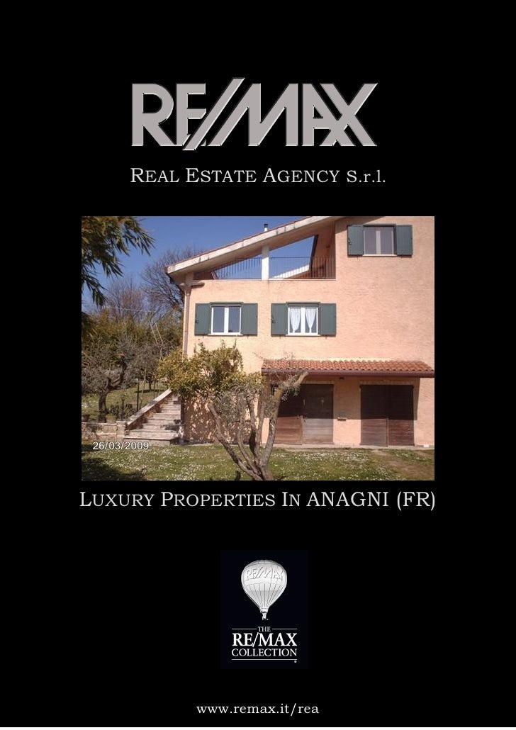 REAL ESTATE AGENCY S.r.l.     LUXURY PROPERTIES IN ANAGNI (FR)               www.remax.it/rea