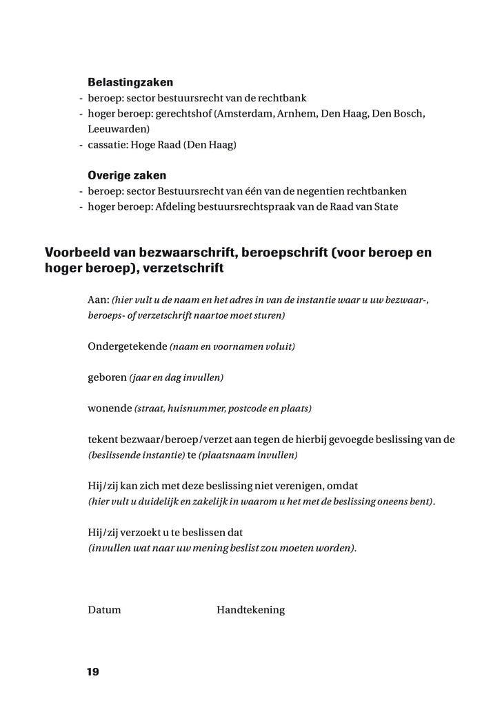 voorbeeldbrief beroepschrift Brochure Bezwaar & Beroep voorbeeldbrief beroepschrift