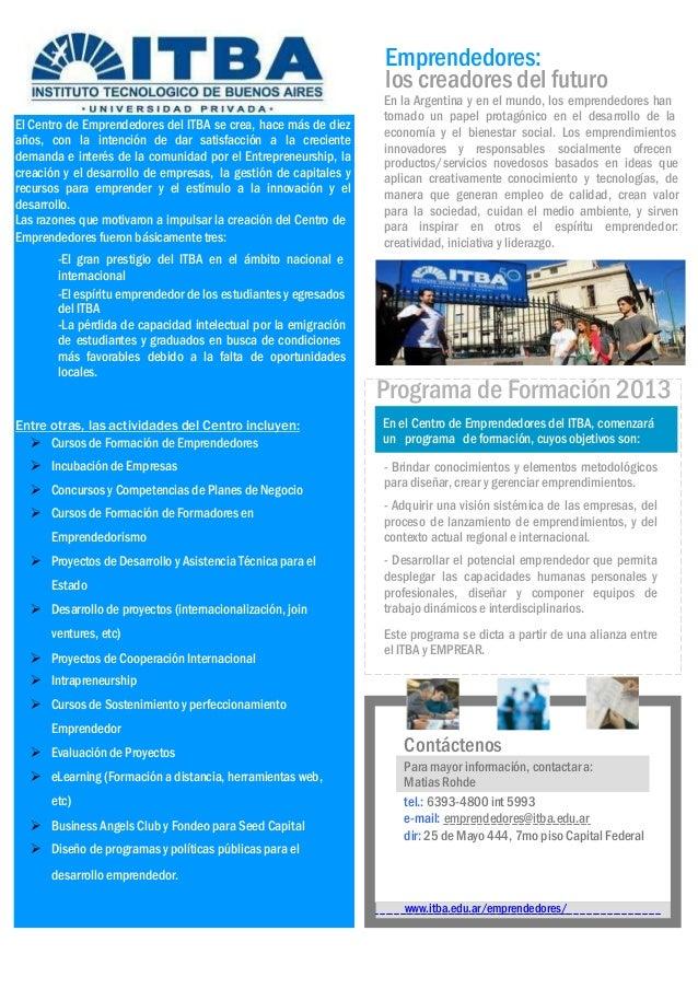 PROGRAMA DE FORMACIÓN PARA EMPRENDEDORES 2011PROGRAMA DE FORMACIÓN PARA EMPRENDEDORES 20111 Emprendedores Argentinos Asoci...