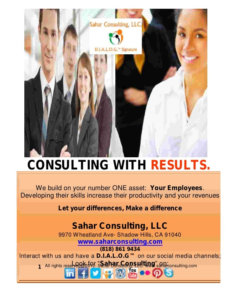 CONSULTING WITH RESULTS.    We build on your number ONE asset: Your Employees.Developing their skills increase their produ...