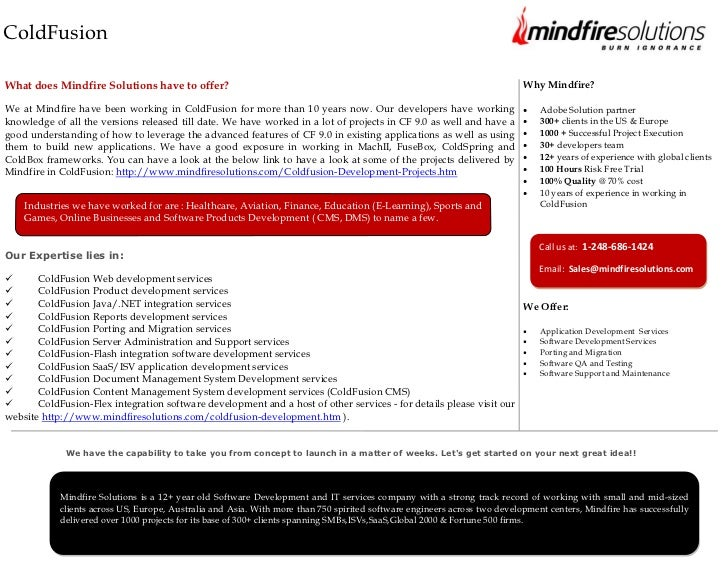 ColdFusionWhat does Mindfire Solutions have to offer?                                                                     ...