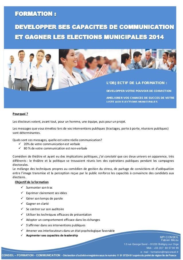 MPI CONSEIL Fabien Micou 12 rue George Sand – 91220 Brétigny sur Orge Mob : +33 (0)7 60 57 00 99 e- mail : formation@mpico...