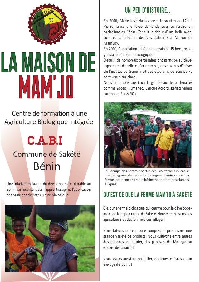 La maison de  MAM'JO  Centre de formation à une  Agriculture Biologique Intégrée  C.A.B.I  Commune de Sakété  Bénin  Une i...