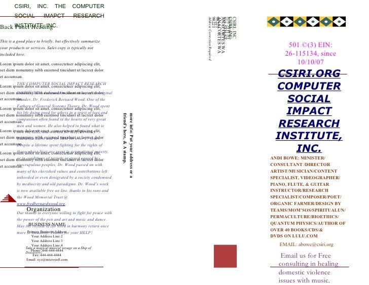 CSIRI,       INC.       THE        COMPUTER         SOCIAL           IMAPCT             RESEARCH                          ...