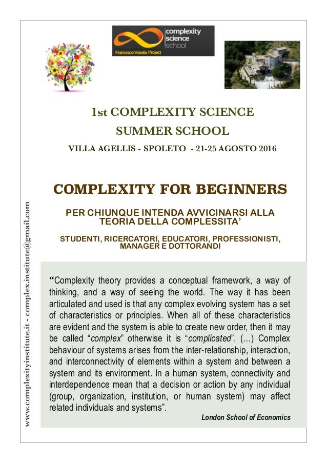 COMPLEXITY FOR BEGINNERS ! PER CHIUNQUE INTENDA AVVICINARSI ALLA TEORIA DELLA COMPLESSITA' ! STUDENTI, RICERCATORI, EDUCAT...